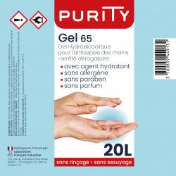 Bidon de vingt litres de gel hydroalcoolique - PURITY - Composition
