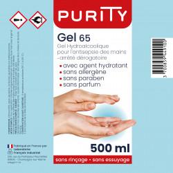 Flacon 500ml gel hydroalcoolique - PURITY - étiquette
