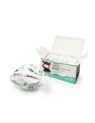 Pack de 50 masques chirurgicaux pour enfant - Modèles Garçons - Catégorie 1