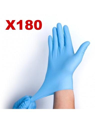 Boite de 180 gants nitrile XL - non poudrés  - Couleur bleu