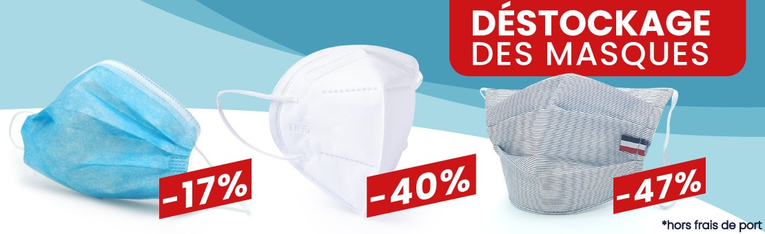 Pack de 5 masques barrières lavables en tissus
